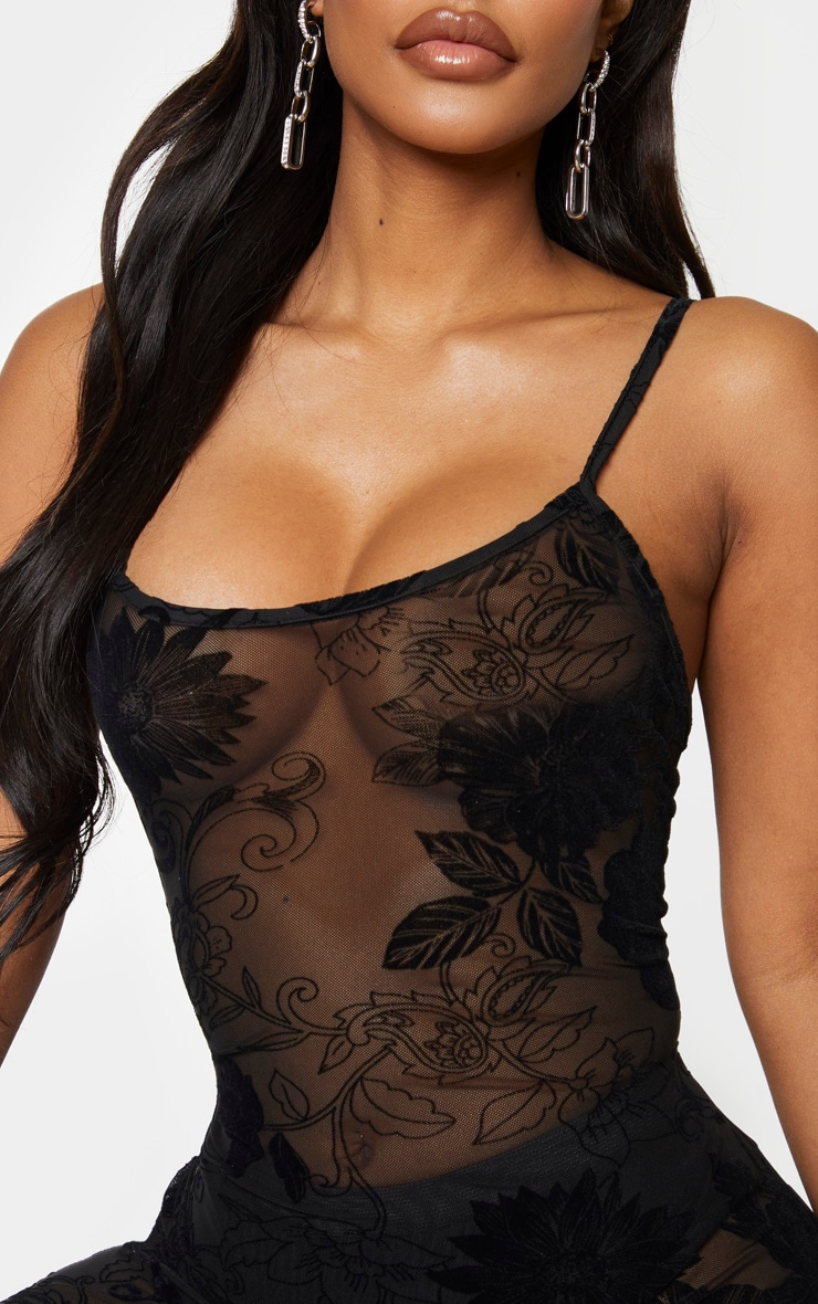Shape Black Floral Flocked Mesh Bodycon Dress 4