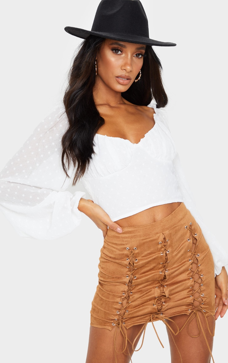 Tan Faux Suede Lace Up Detail Mini Skirt 4