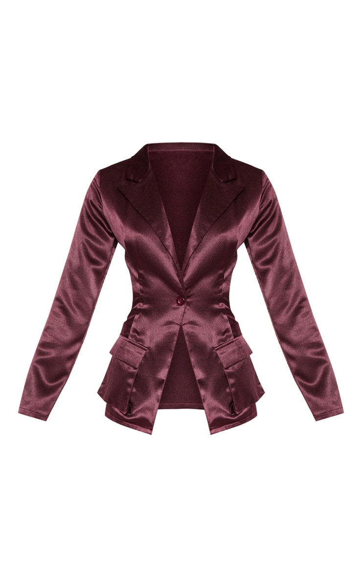 Plum Satin Pocket Fitted Blazer 3