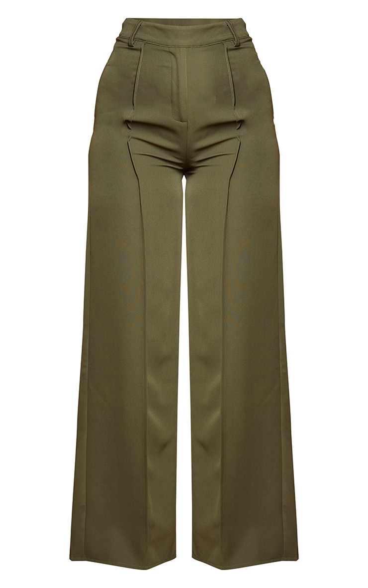 Khaki Woven Seam Front Tailored Wide Leg Pants 5