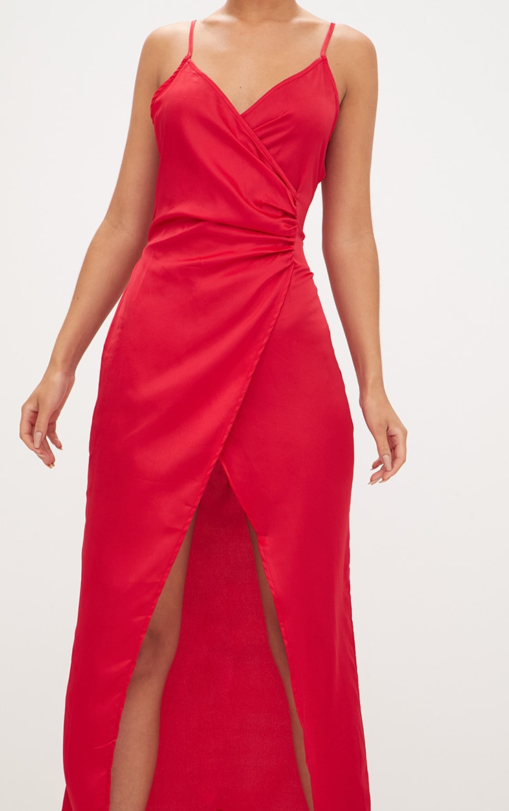 Red Satin Strappy Wrap Detail Maxi Dress 5