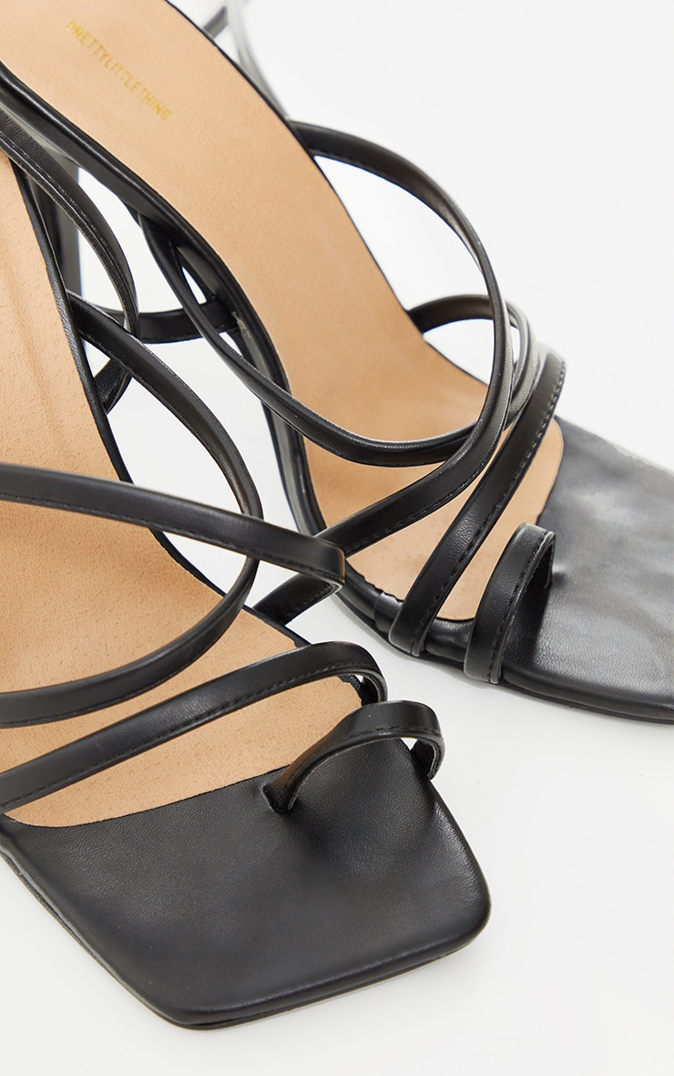 Black Square Toe Strappy Lace Up High Heeled Sandals 3