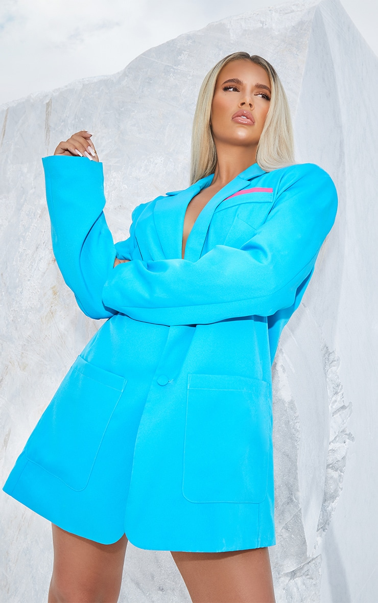Bright Blue Extreme Oversized Blazer 1