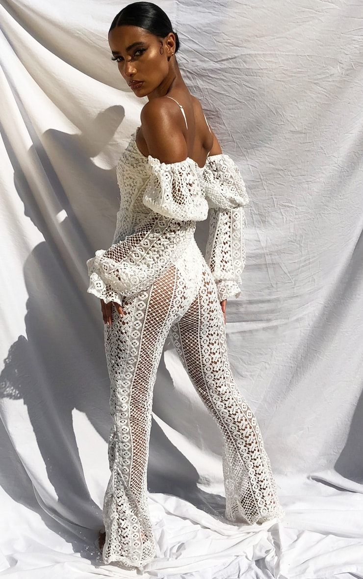 White Crochet Lace Strappy Jumpsuit 2