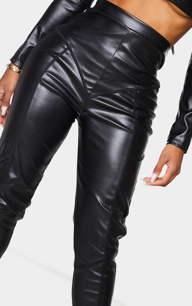 Shape Black PU High Waist Panelled Leggings 4
