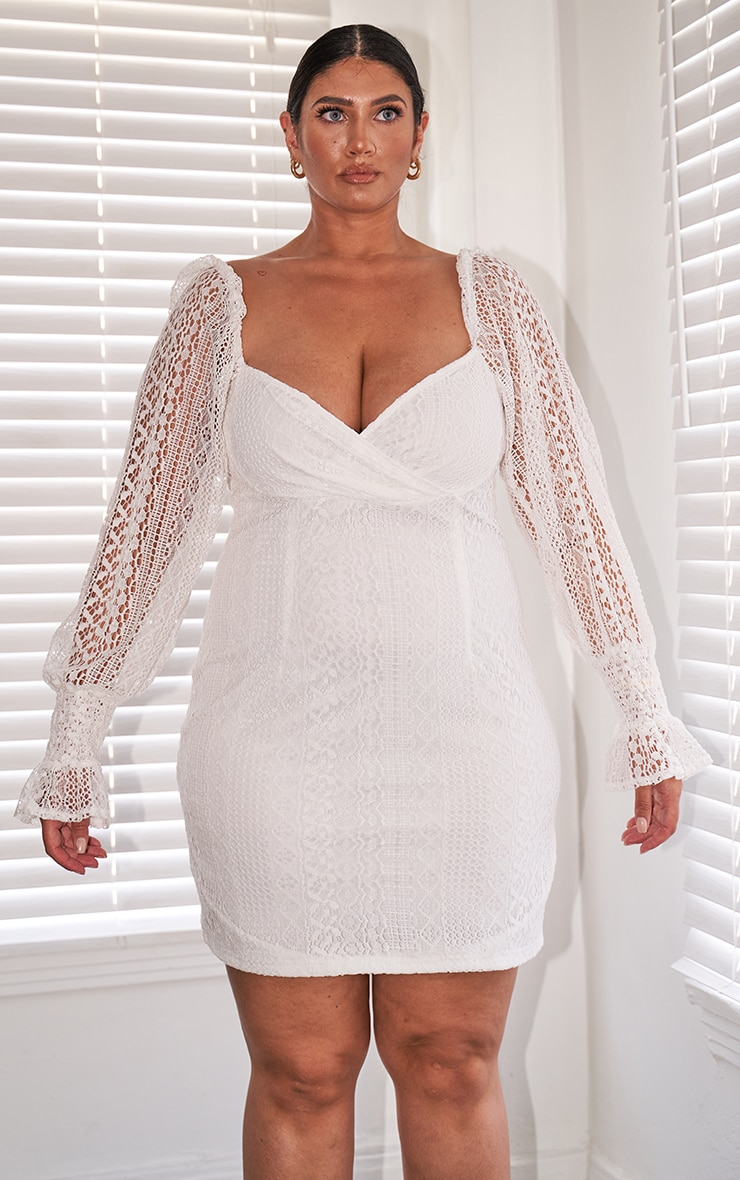 Plus White Laced Puff Sleeve Shift Dress 4