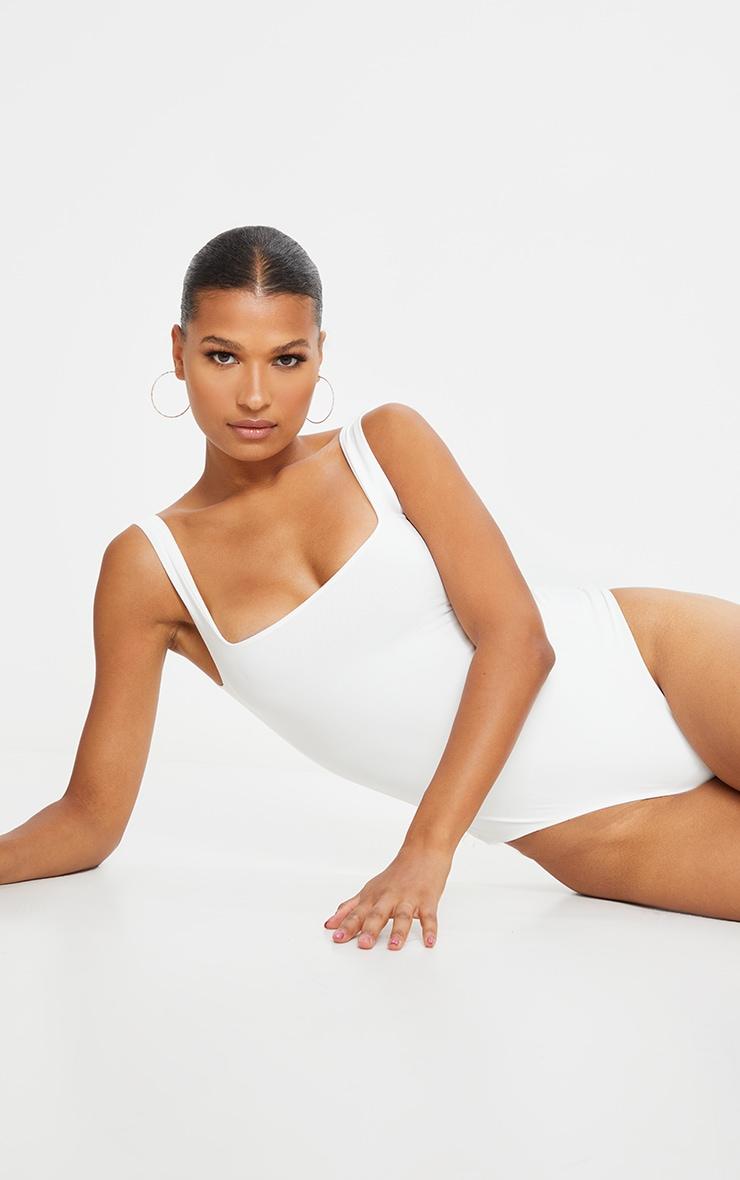 White Second Skin Square Neck Sleeveless Thong Bodysuit 2