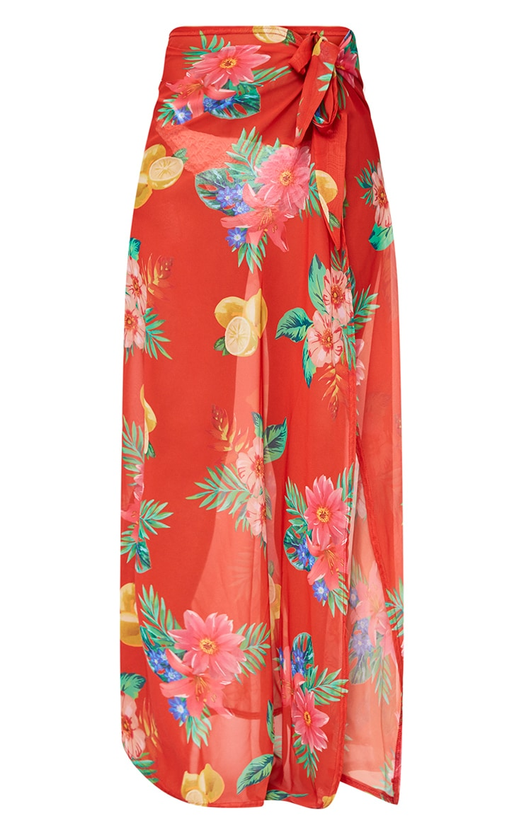Orange Chiffon Tropical Floral Print Maxi Skirt  3