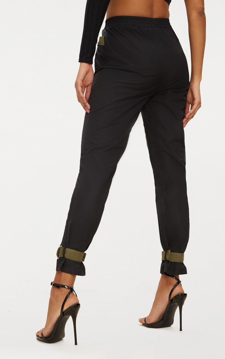 Black Contrast Pocket Shell Suit Joggers  4