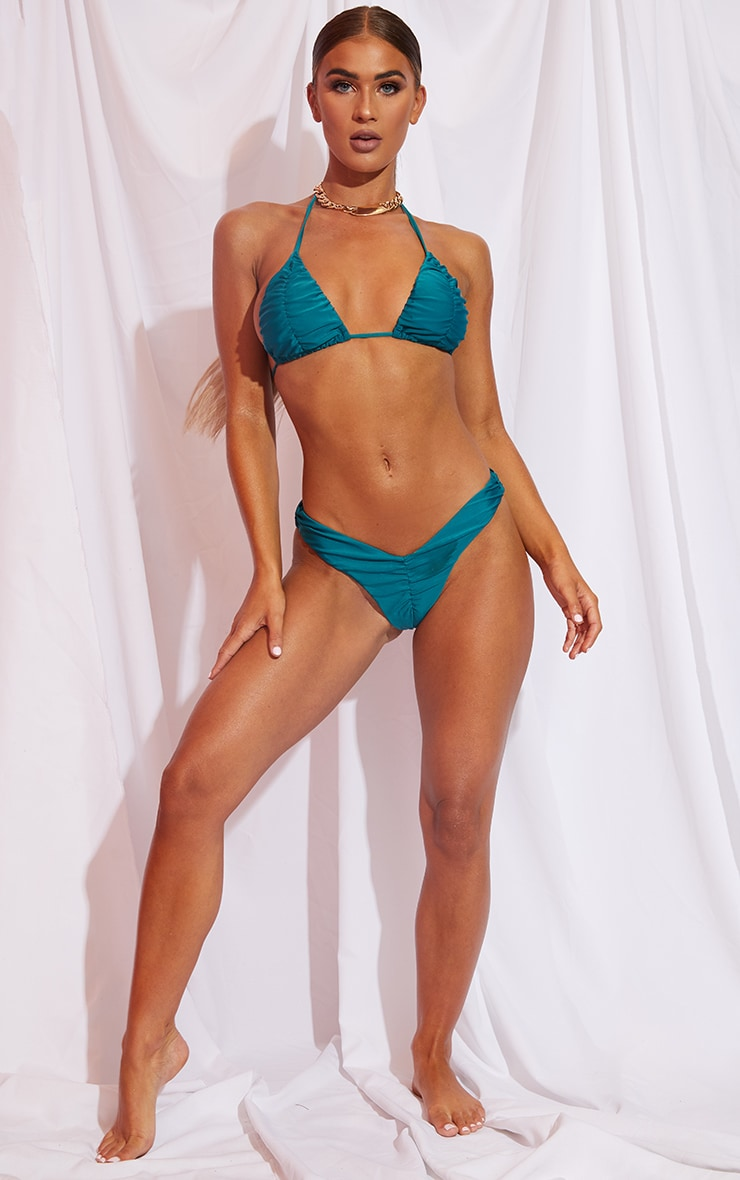 Teal Ruched Cup Padded Triangle Bikini Top 3