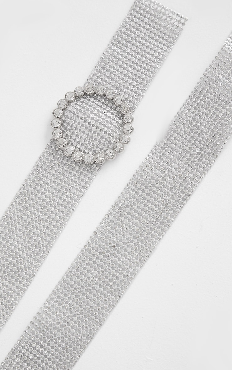 Silver Diamante Tape With Diamante Circle Buckle Belt 1