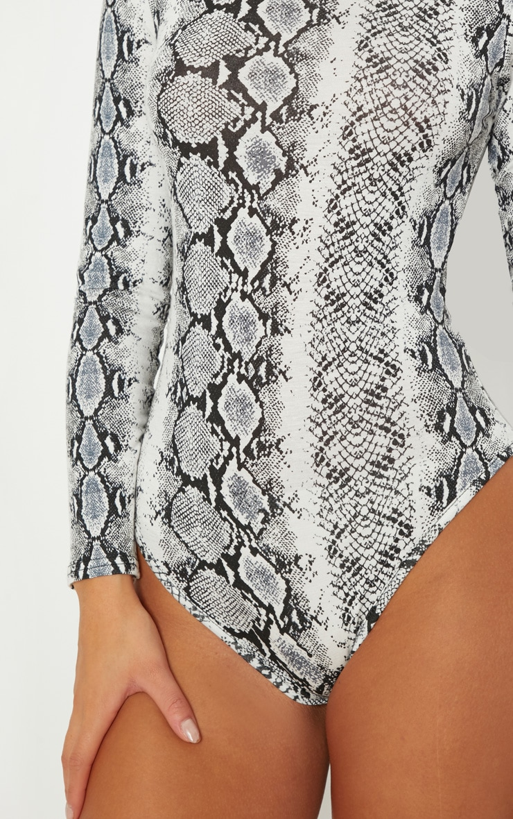Grey Snake Print Roll Neck Long Sleeve Bodysuit 6