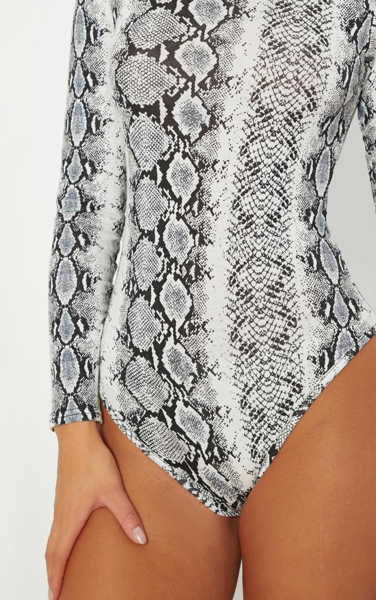 fd538c7642fe7f Grey Snake Print Roll Neck Bodysuit   Tops   PrettyLittleThing