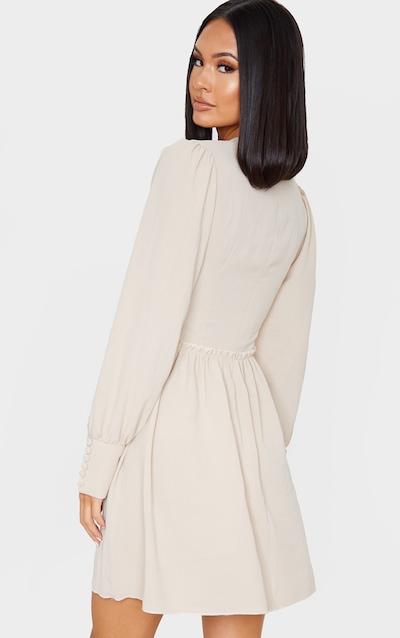Stone High Neck Shirred Bodice Long Sleeve Smock Dress