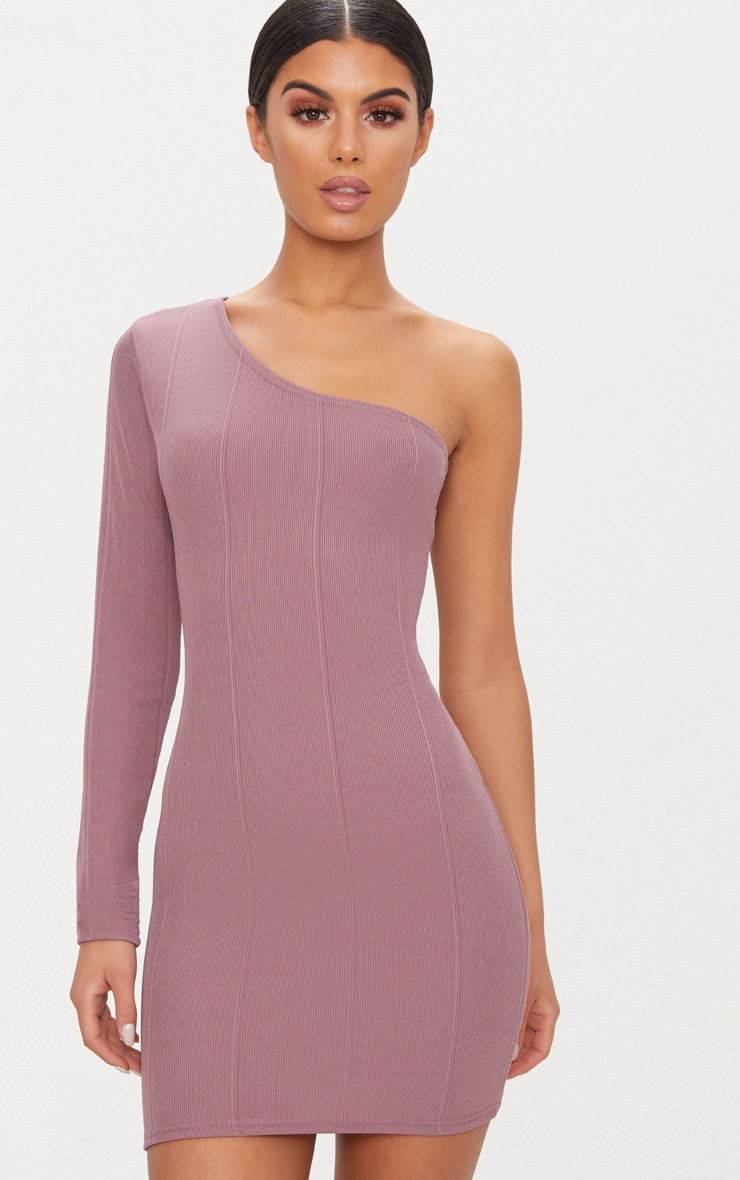 Dark Mauve Bandage One Sleeve Bodycon Dress 1