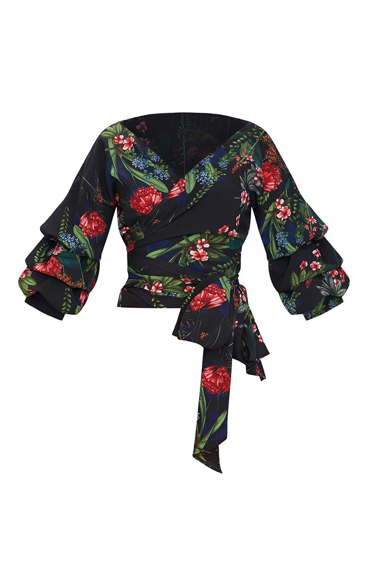 Black Floral Print Oversized Ruffle Wrap Shirt  3