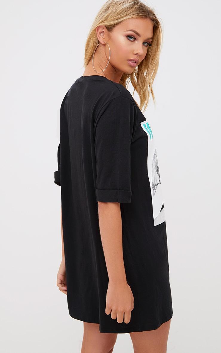 Whitney Black T Shirt Dress  2