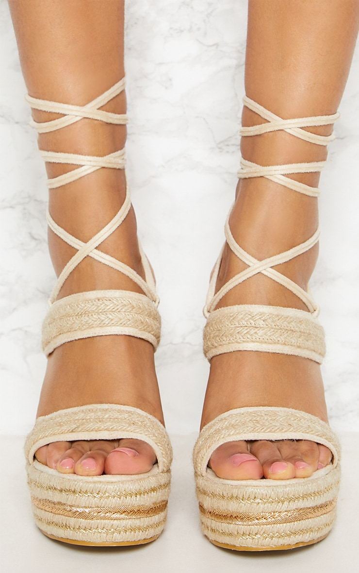 Natural Twin Strap Espadrille Wedge  5
