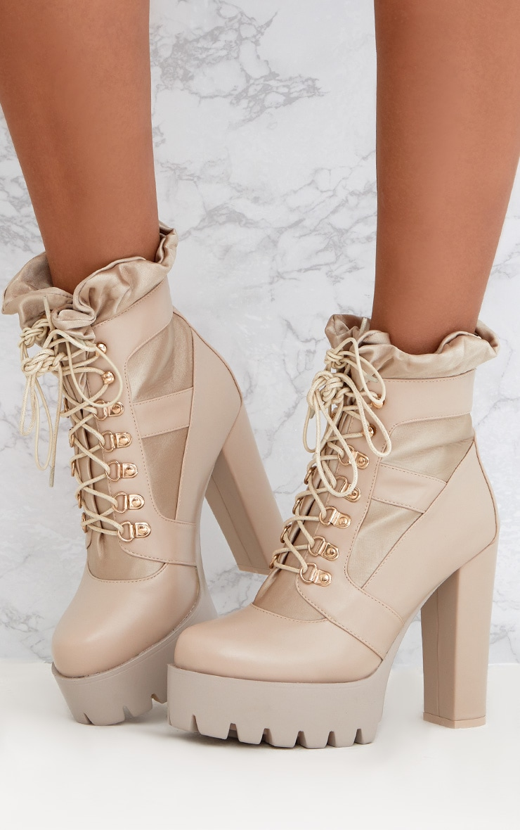 Beige Ruched Lace Up Platform Ankle Boots 1