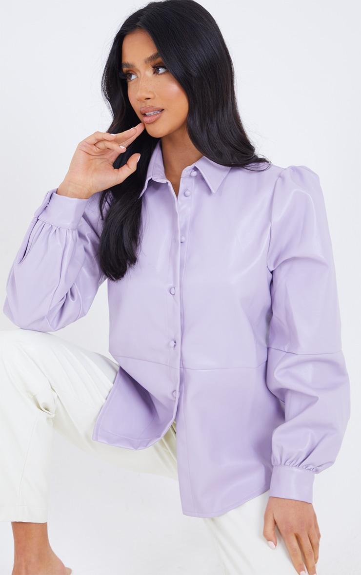 Petite Lilac Oversized Balloon Sleeve PU Shirt 1