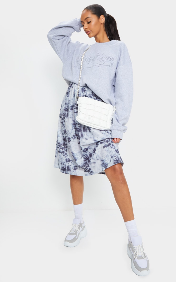 Blue Tie Dye Print Pleated Midi Skirt 1