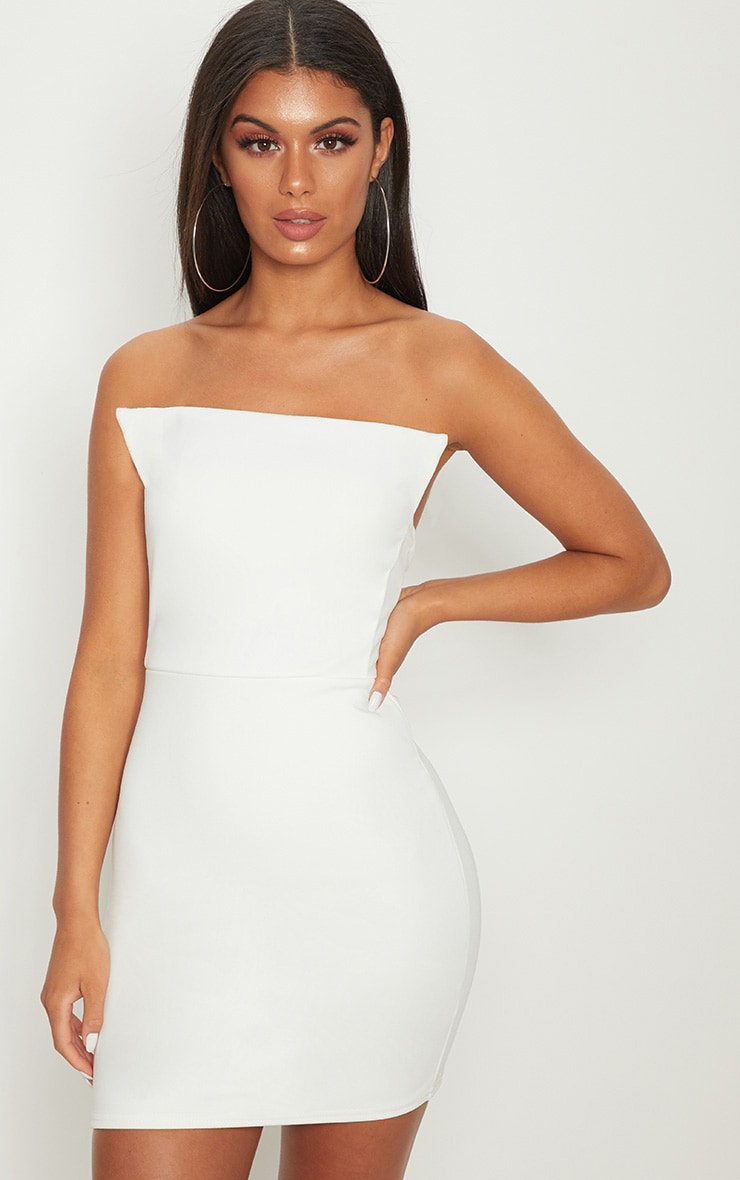 White Square Neckline Bandeau Bodycon Dress 1
