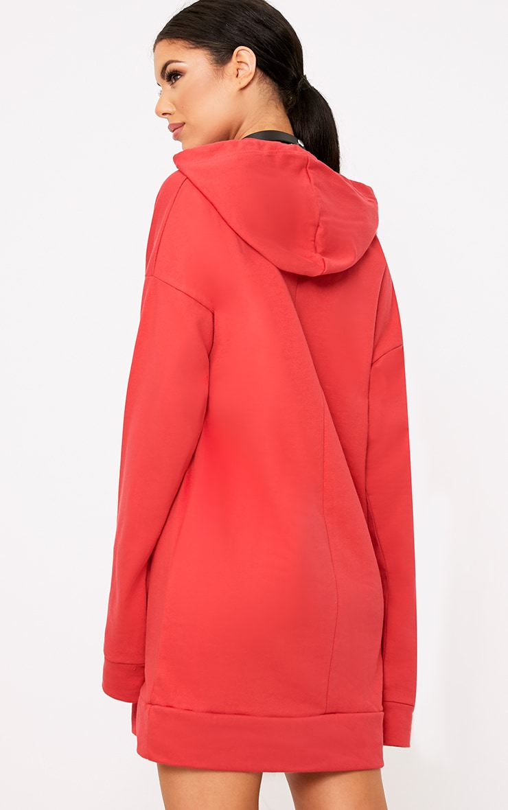 Anuliar Red Hooded Jumper Dress with Contrast Ties 2