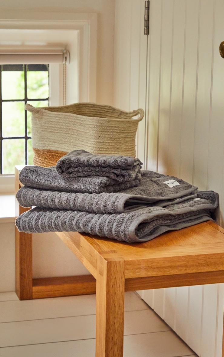 Charcoal Textured Ribbed Cotton Medium Bath Towel  2