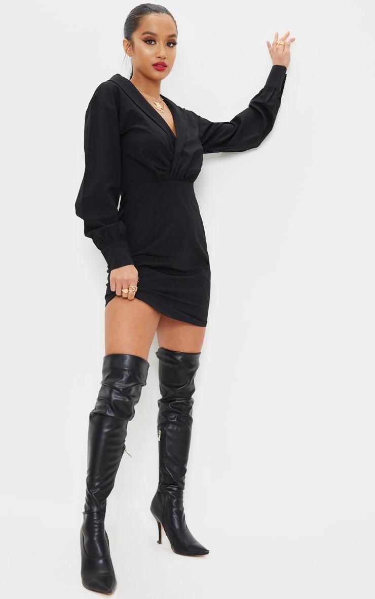Petite Black Button Front Plunge Shirt Dress 1