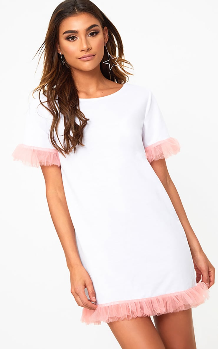 size 7 top brands buy online White Mesh Tulle Sleeve T Shirt Dress