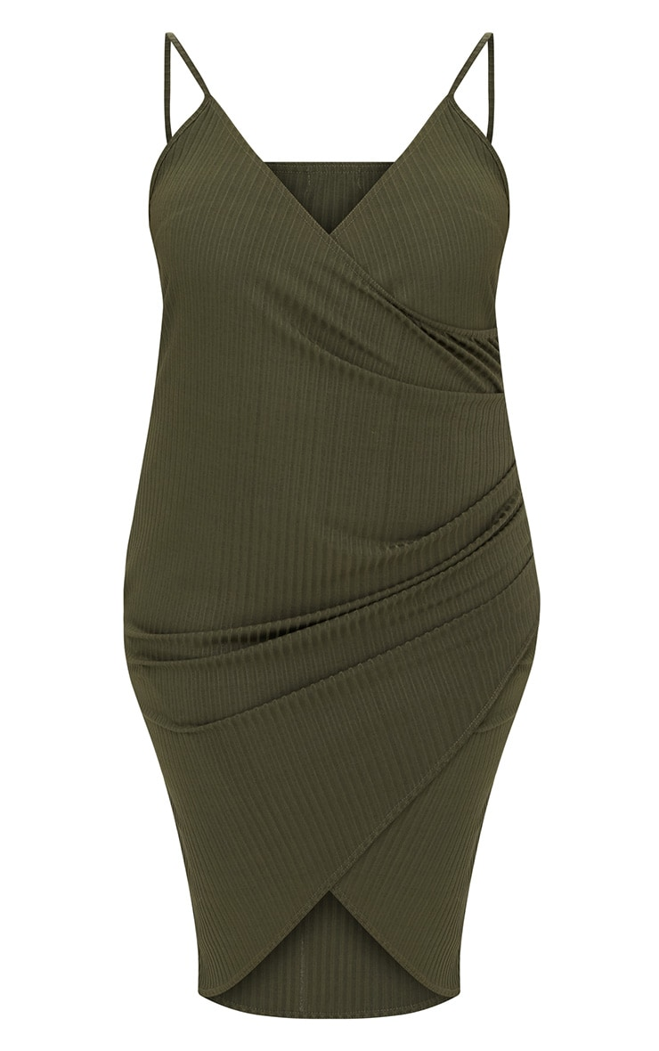Plus Khaki Ribbed Cami Midi Dress 3