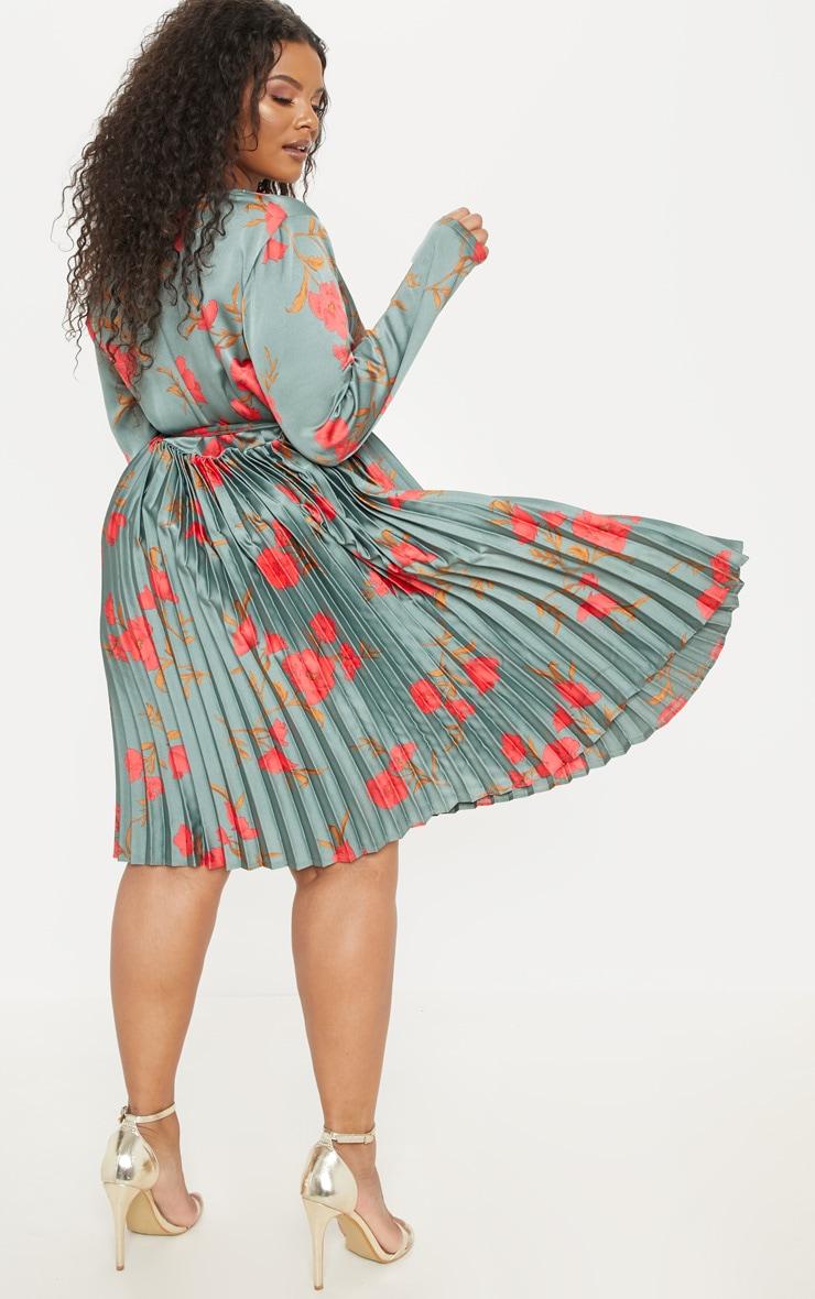Plus Emerald Green Floral Print Long Sleeve Pleated Midi Dress 3