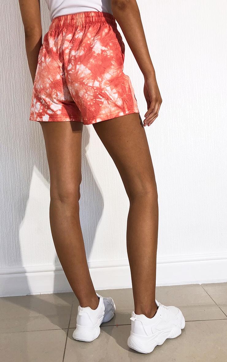 Peach Tie Dye Twill Drawstring Waist Shorts 3