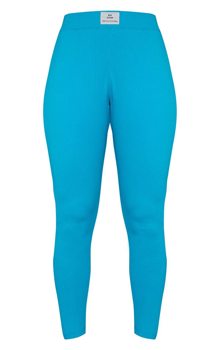 PRETTYLITTLETHING Aqua Badge Detail Leggings 5