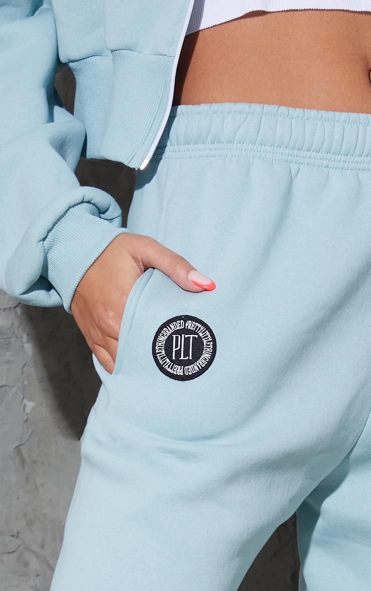 PRETTYLITTLETHING Sage Blue Branded Badge Detail Joggers 4