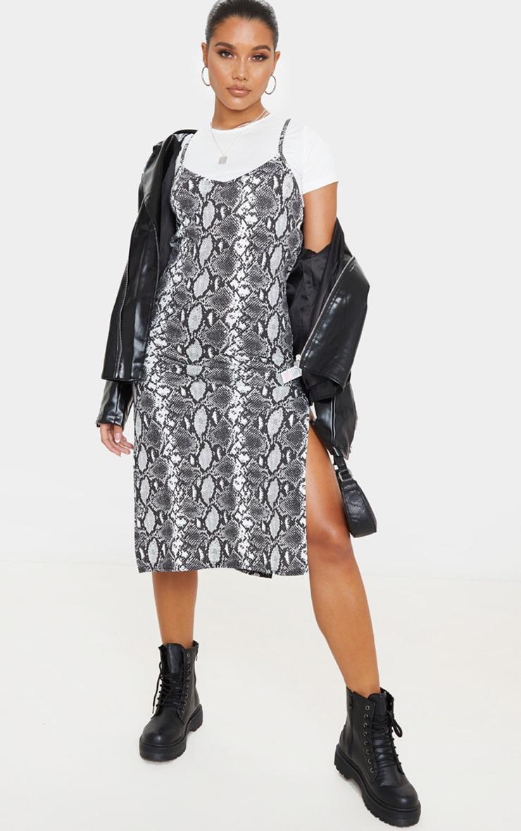 Monochrome Snake Print Split Jersey Midi Dress 1