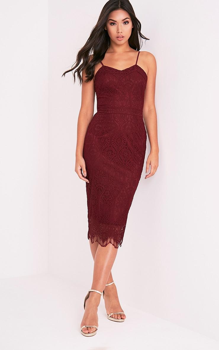 Stacie Burgundy Lace Midi Dress