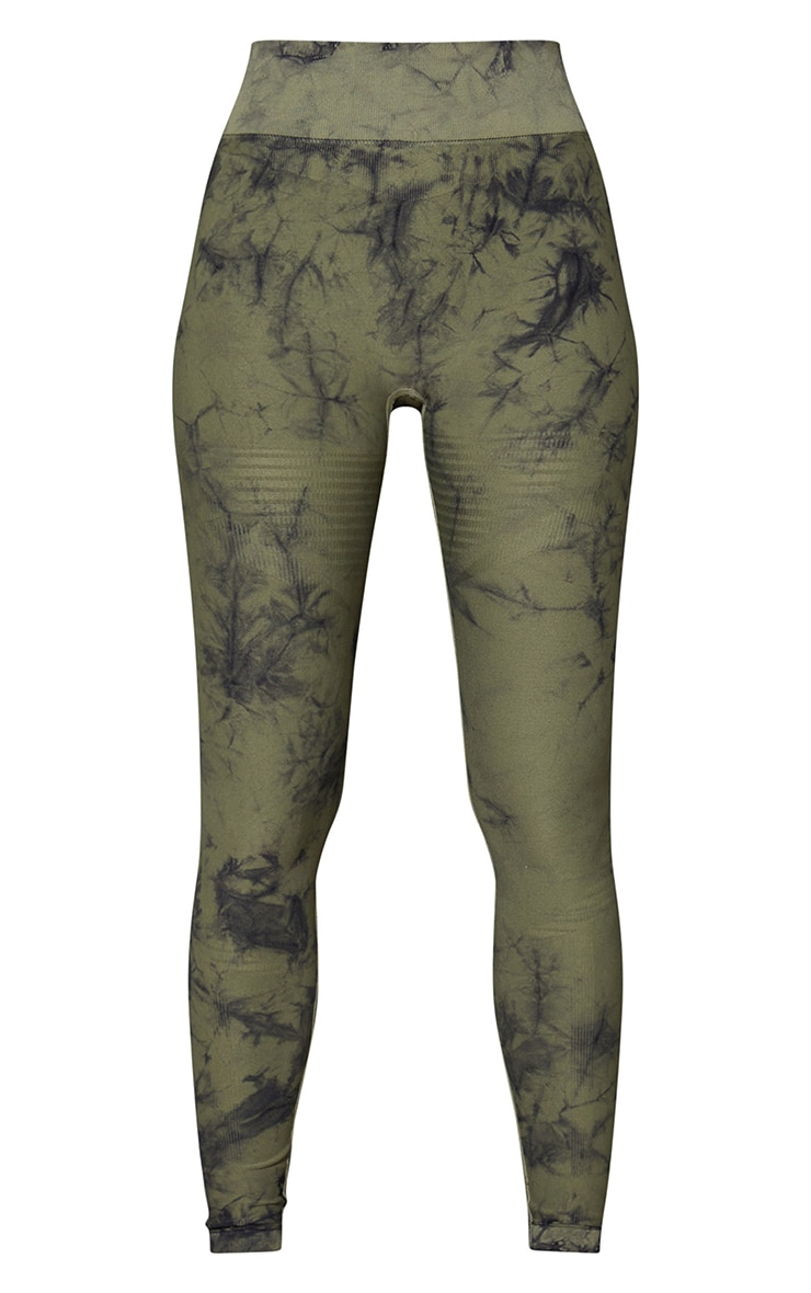 Khaki Tie Dye Seamless High Waist Gym Leggings 5