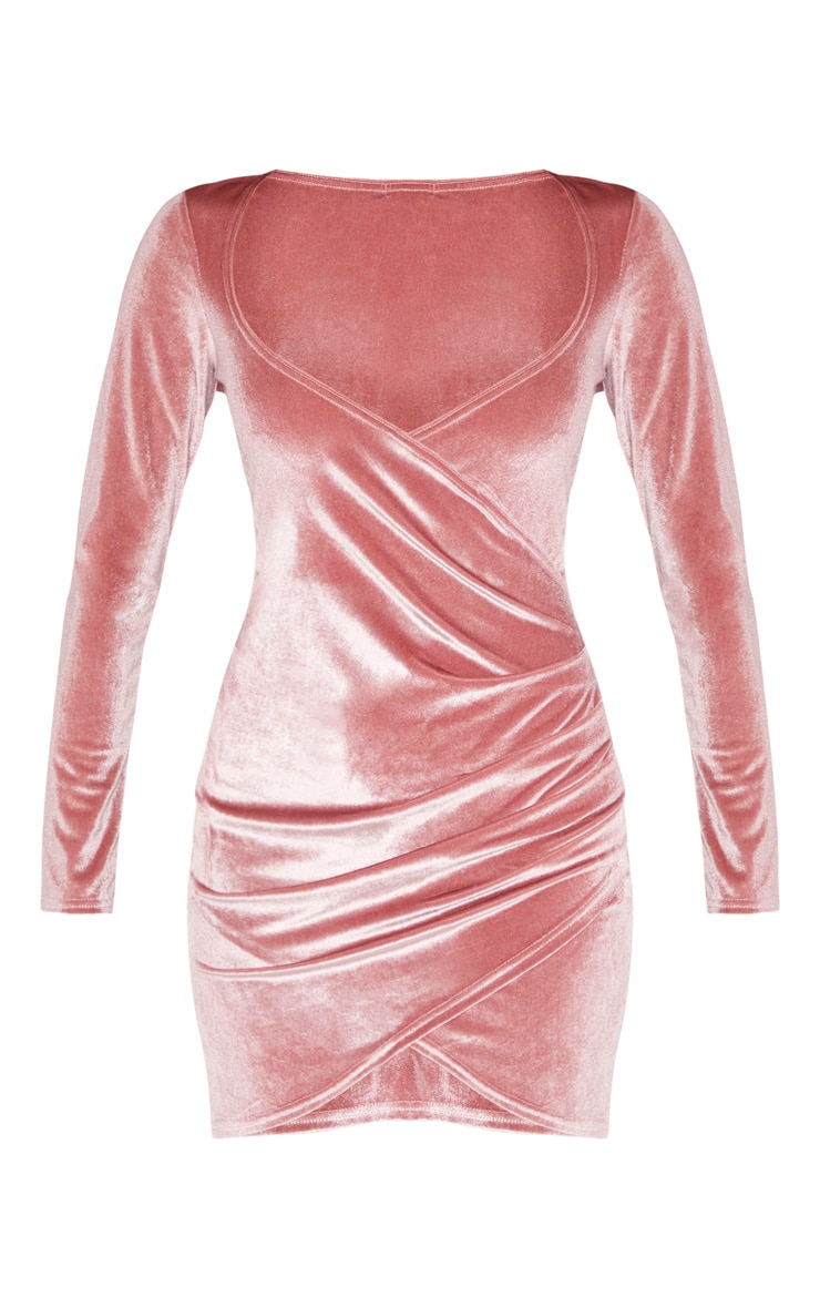 Rose Velvet Long Sleeve Wrap Detail Bodycon Dress 3