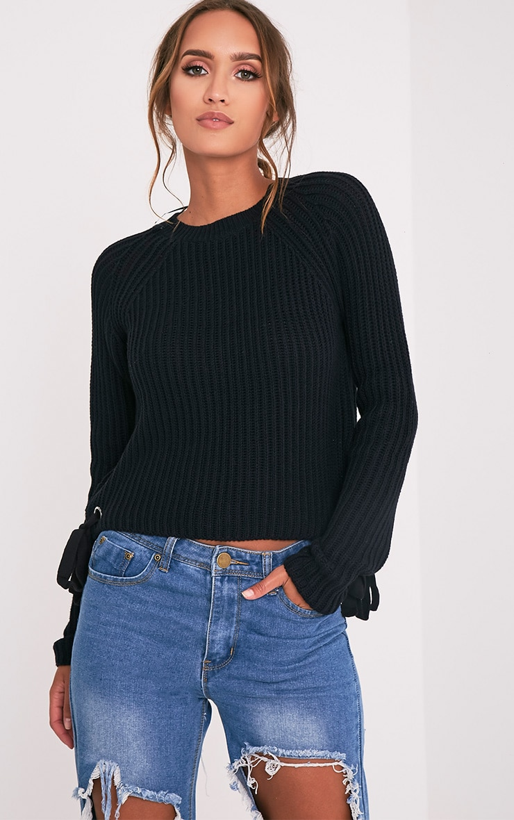 Tanae Black Lace Up Side Crop Jumper 4