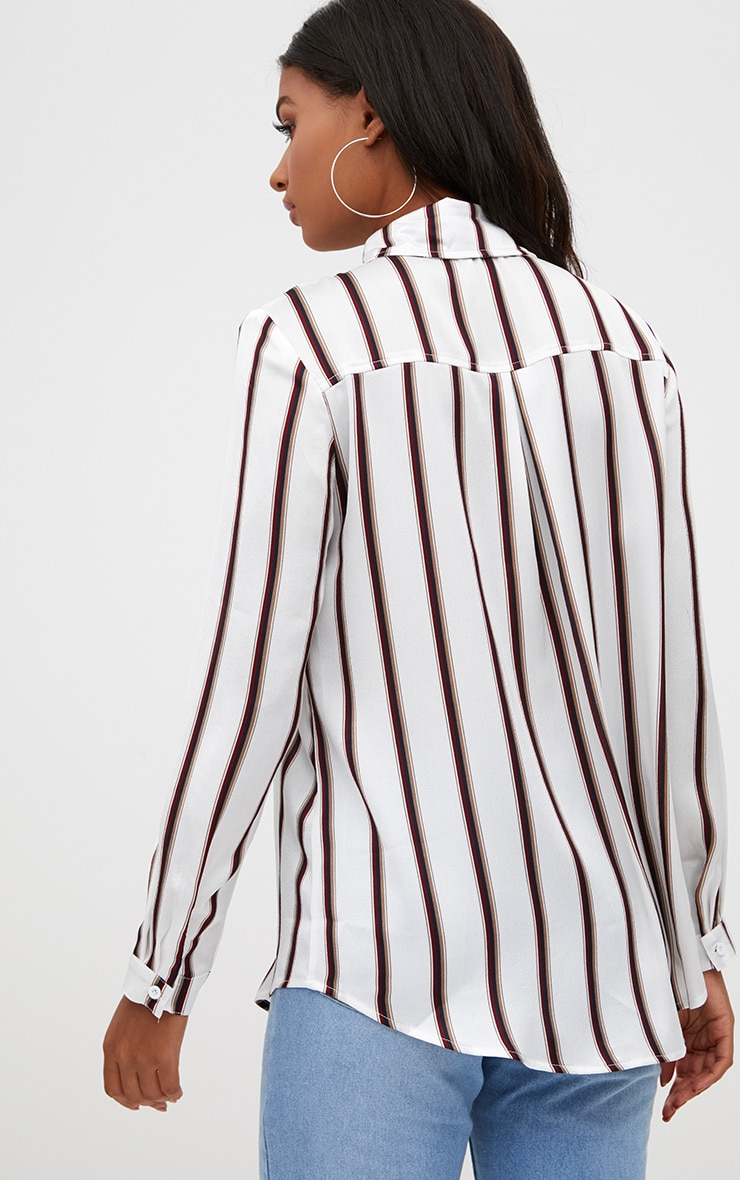 White Satin Stripe Shirt 2