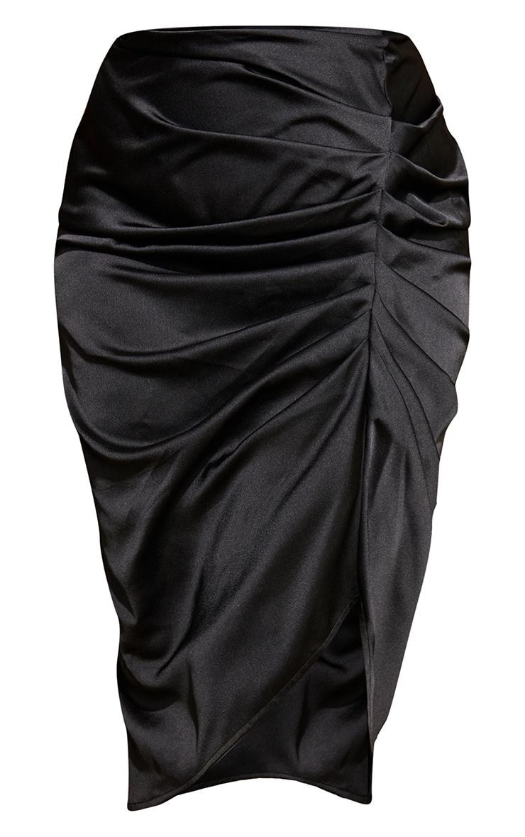 Plus Black Satin Ruched Split Midi Skirt 5