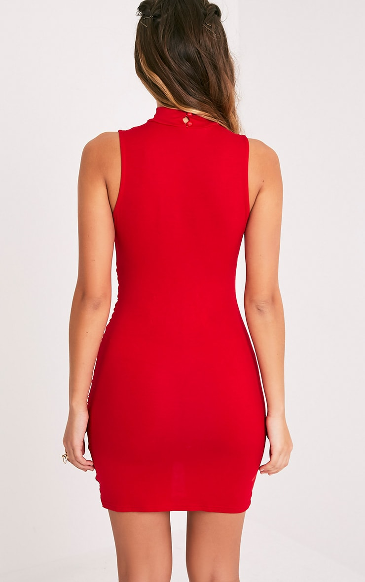Amaris Red Choker Detail Ruched Wrap Front Bodycon Dress 1
