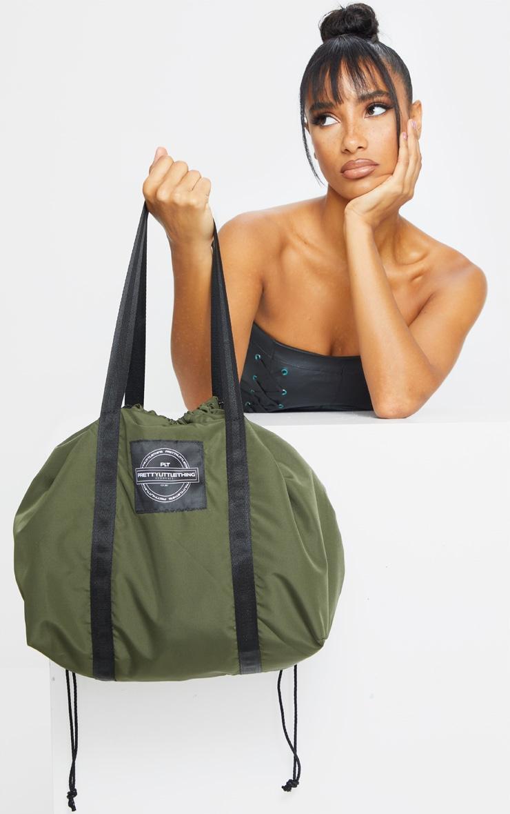 PRETTYLITTLETHING Khaki Utility Tote Bag 1