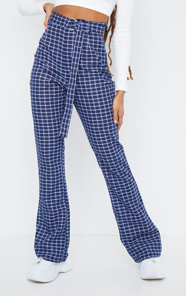 Blue Check Woven Belted Flared Trousers 2