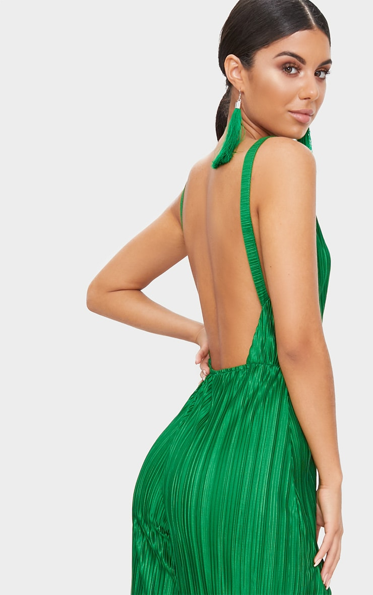 Green Plisse Plunge Strappy Jumpsuit 5
