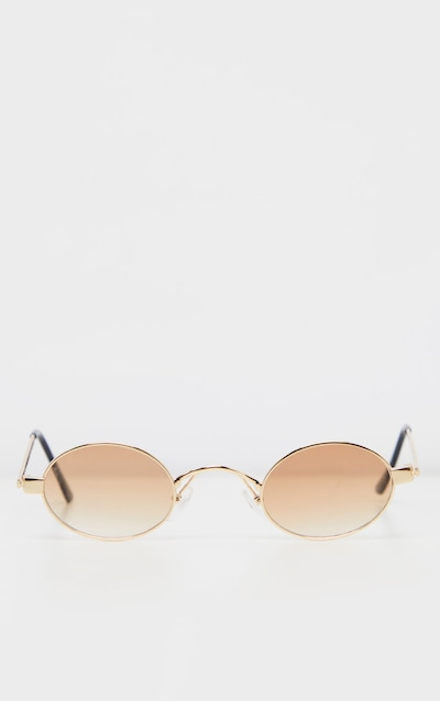 Brown Small Squashed Round Lens Sunglasses