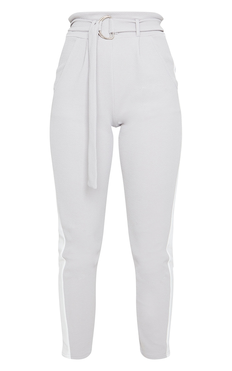 Grey D Ring Contrast Panel Skinny Trousers 5