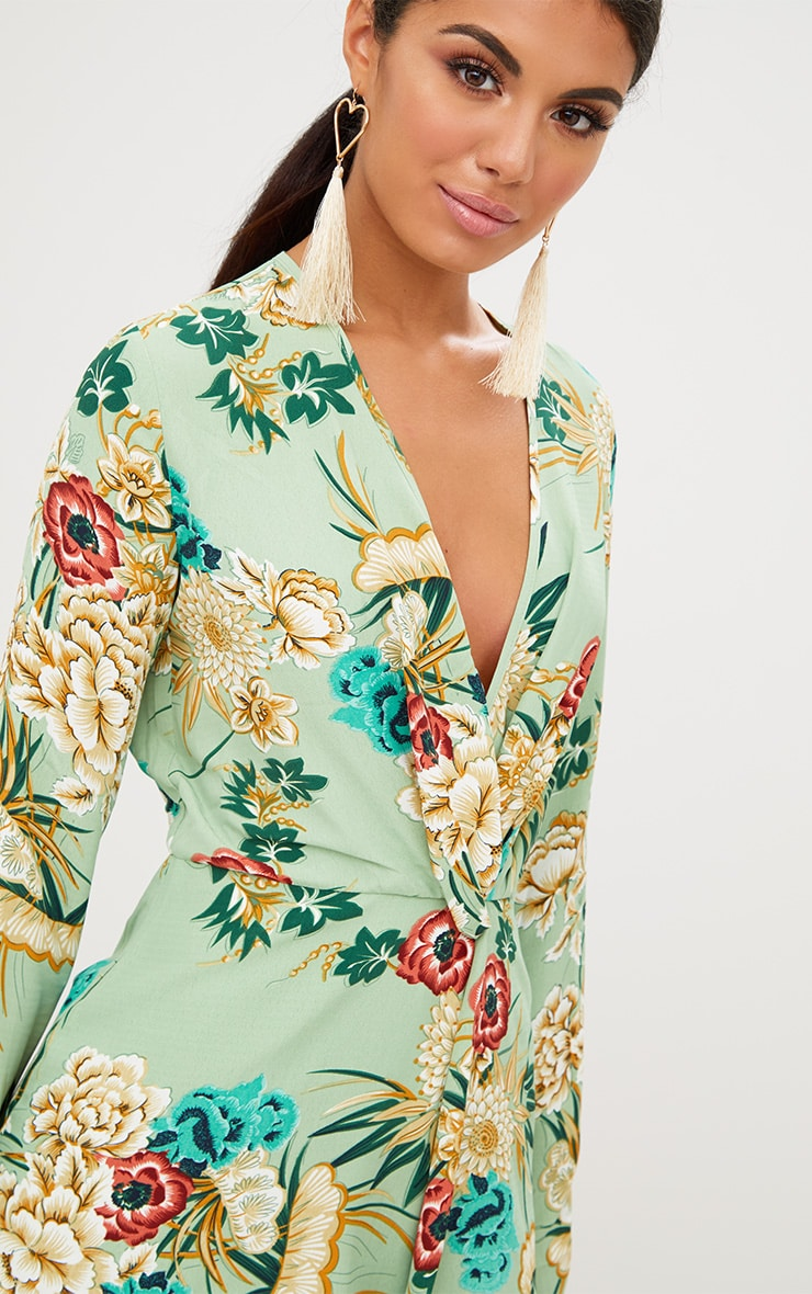 Sage Green Printed Long Sleeve Wrap Dress 4