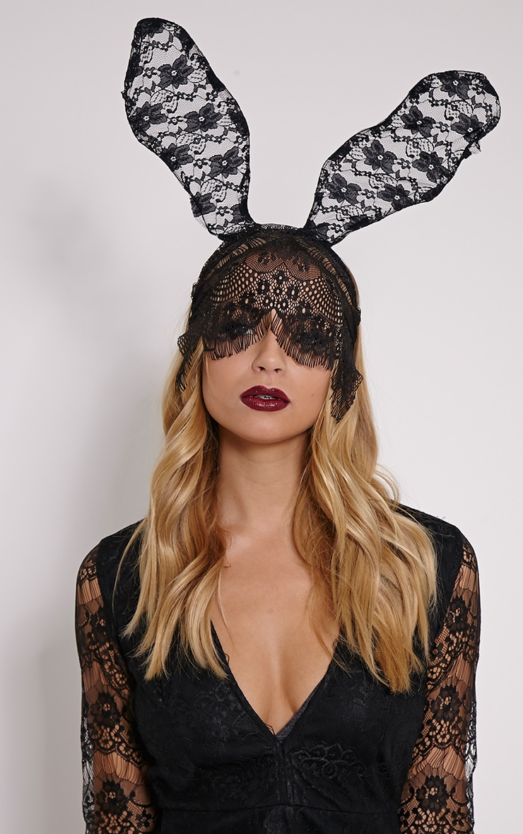 Black Gothic Bunny Ears And Veil 1